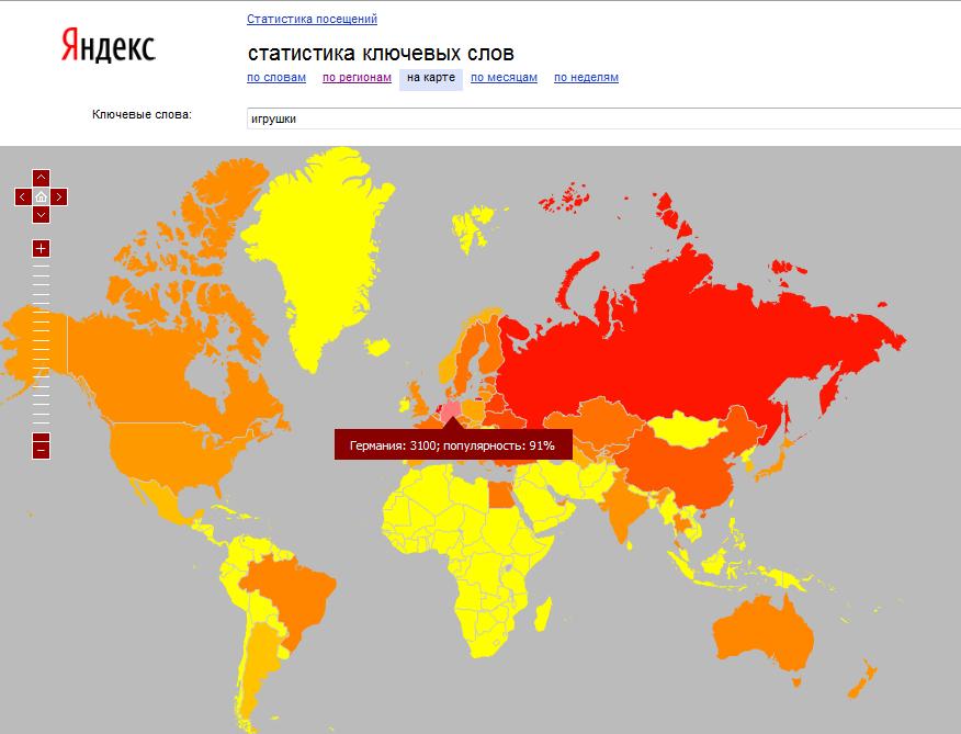 Karte Suchvolumen Keyword Tool von der Suchmaschine Yandex